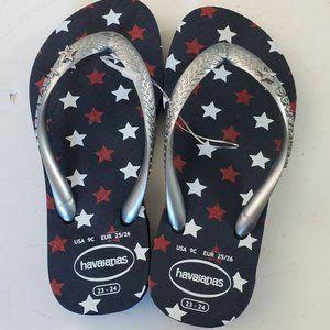 Havaianas Patriotic Stars Flip Flops Kids 9c NWOT